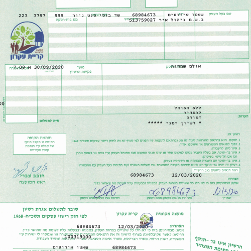 רישיון עסק חדש שאטו